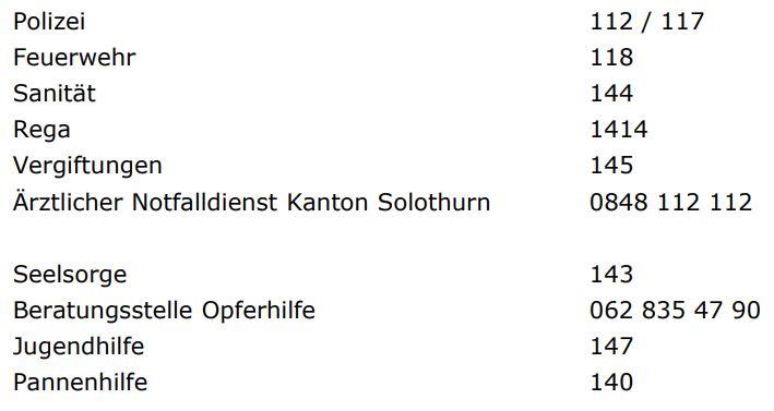 Notfall Solothurn Nummern